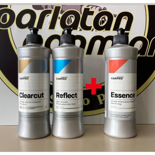 CarPro ClearCut + Reflect + Essence - Boya Yenileme ve SiO2'li Boya Koruma -Wax Seti - 500ml 3 Adet Ürün