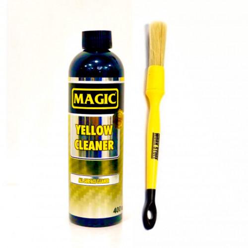 Magic Yellow Cleaner APC - Genel Temizlik  400 ml  + WORK STUFF Detaylandırma Fırçası Klasik - 16 mm  ( 2'li SET )