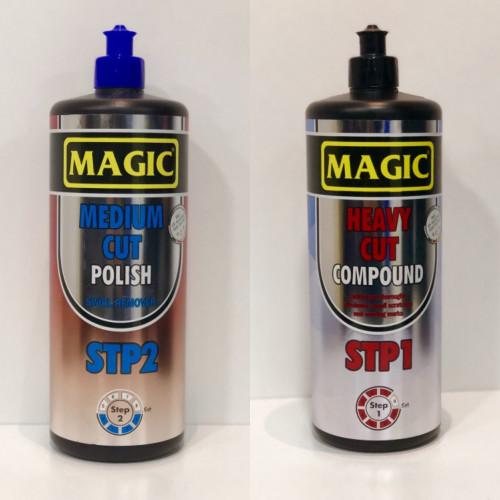 Magic Sihirli Set - STP1 Çizik Çıkarıcı Pasta ( 1 kg )  + STP2 Haregiderici Parlak Cila  ( 1 litre )