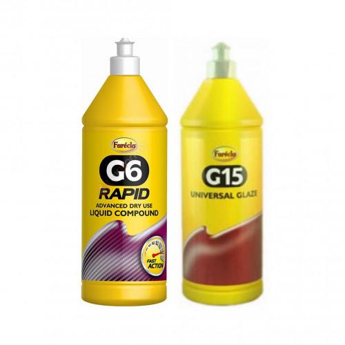 Farecla G6 Rapid Kuru Pasta 1 Litre + Farecla G15 Universal Glaze - Yüksek Parlaklık - Hare Giderici -1 Litre ( 2 ÜRÜN )