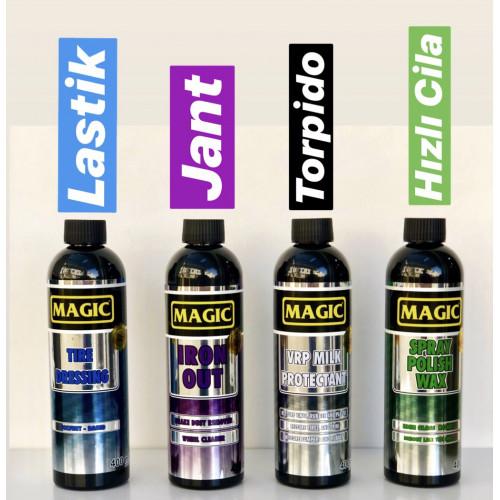 Magic Sihirli Takım  - Magic Tire Dressing Lastik - Magic Iron Out  Jant - Magic Hızlı Cila - Magic VRP Milk  400 ml X 4 Adet
